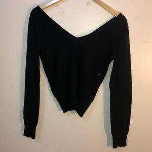 Sweaters - Black off the shoulder V-neck sweater